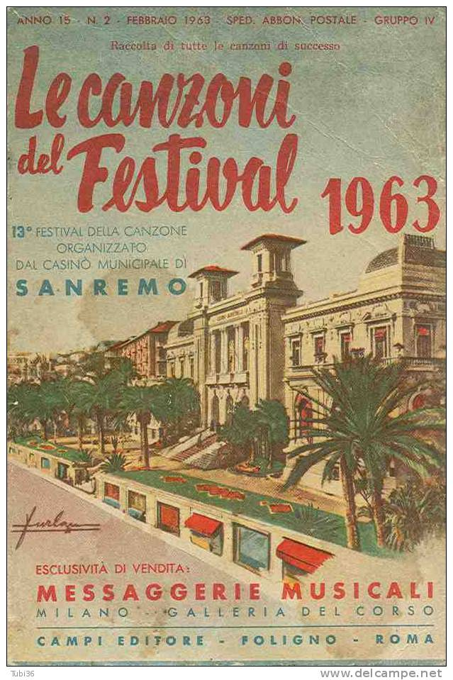 """""""LE CANZONI DEL FESTIVAL 1963"""" SANREMO 13° FESTIVAL DELLA CANZONE - Manifesti & Poster"""