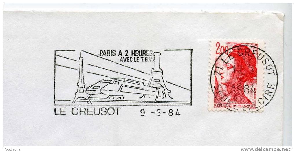 FLAMME 71 LE CREUSOT TRAIN TGV         9  /6 /1984     N° 594   LETTRE ENTIERE - Annullamenti Meccanici (pubblicitari)