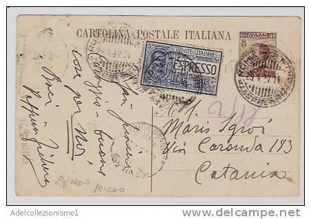 1189)intero Postale Espresso Da 40c.michetti+ 1,25£ Del Servizio Da Roma A Catania Il 23-4-1927 - 1900-44 Vittorio Emanuele III
