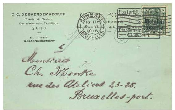 German Occ. Of Belgium; Censorered Card 1916 - Occupation 1914-18