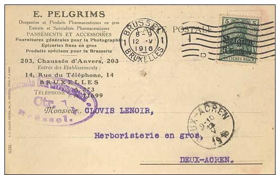 German Occ. Of Belgium; Censorered Card 1916 - Ocupación 1914 – 18