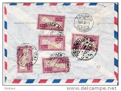 Nep001/ NEPAL -  Landkarte (9 X) + Zusatzmarke 1960 - Nepal