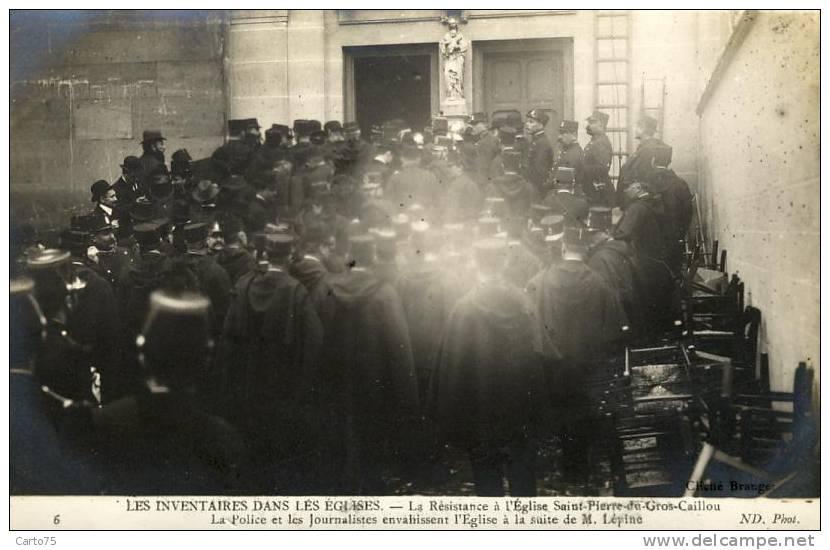 HISTOIRE - Inventaires Eglises - Religion - Gendarmes - Préfet Lépine - Carte-Photo - St Pierre Gros Caillou Paris 75 - Historia