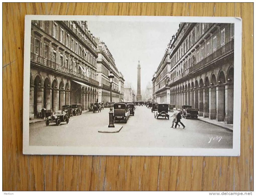 Paris Automobiles Street Scene Cca 1930 Rue De Castiglione  VF/XF-  D2688 - France