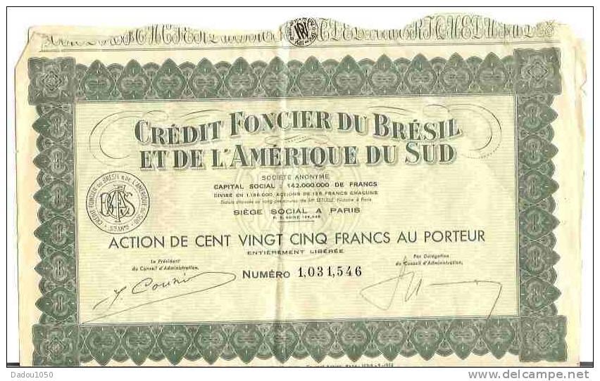 CREDIT FONCIER DU BRESIL ET DE L AMERIQUE DU SUD - Banque & Assurance