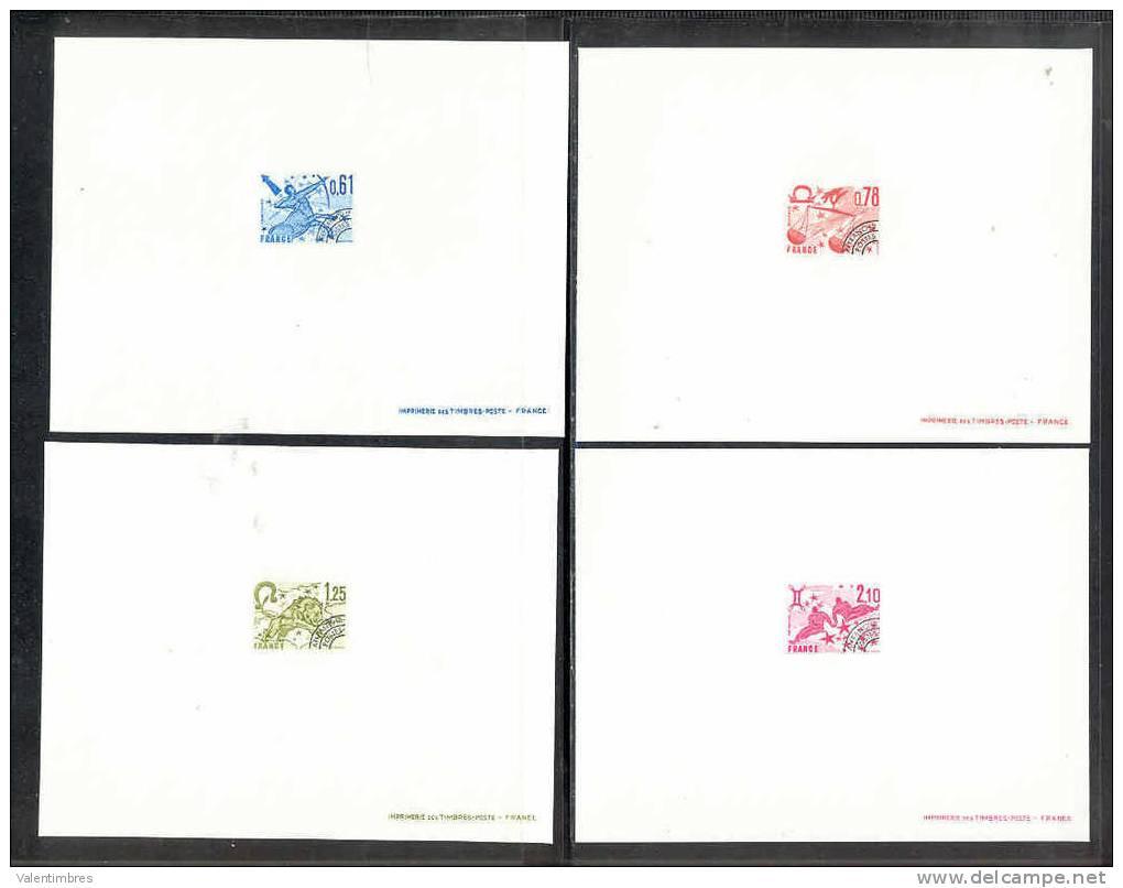 France  4 Epreuves De Luxe  Préo 154/57 Signes Du Zodiaque Sagittaire Balance Lion Gemeaux - Astrology