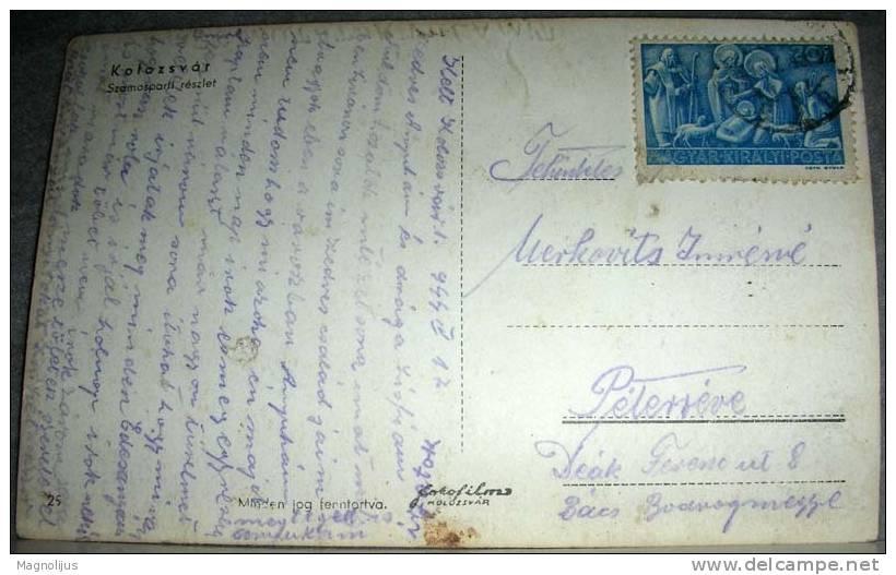 Romania,Cluj,Kolozsvar,River,Bridge,Town View,original Photo,vintage Postcard - Romania