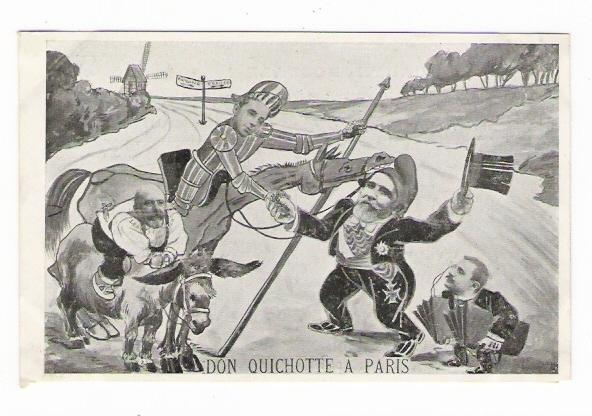 POLITIQUE  /  DON  QUICHOTTE  À  PARIS  /  LEON Y CASTILLO    ( Thèmes :  ÂNES + ESPAGNE + MOULINS À VENT ) - Ezels