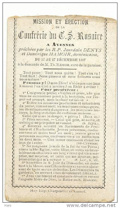 AVENNES - Mission De La Confrérie Du T.S. Rosaire Prêchée Du 17 Au 27 Décembre 1897 (707) - Religion & Esotérisme