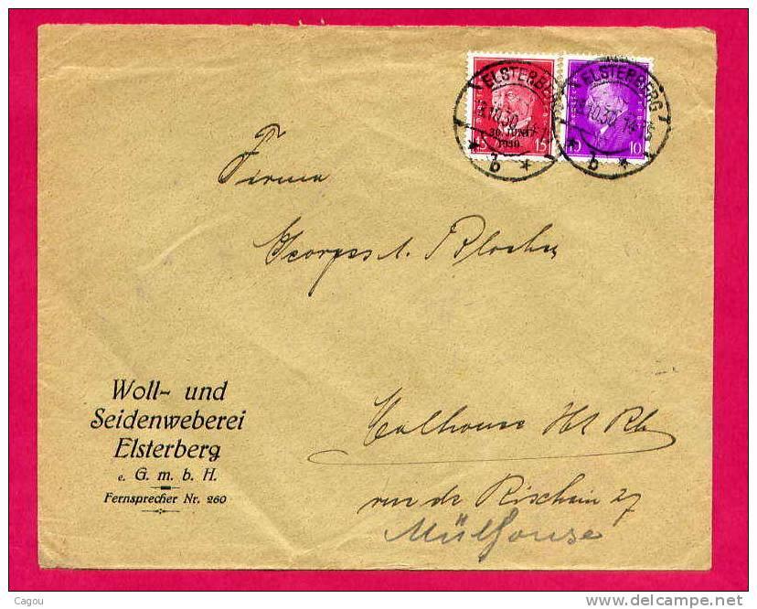 Lettre  D´Allemagne ELSTERBERG  Pour Mulhouse (France) Affranchie Avec Les N° 404A Et 405 Du 18/10/30 - Deutschland