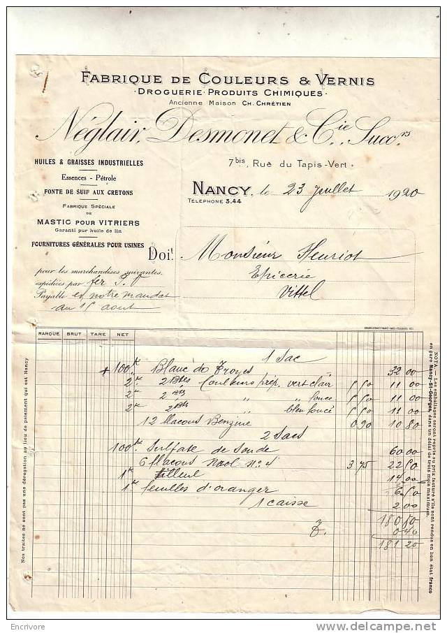 NEGLAIR NEGLAIV DESMONET Et Cie Fabrique De Couleurs Et Vernis  Nancy  - 1920 - France