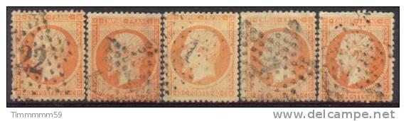 Lot N°5842  Cinq  N°23, Oblit étoiles Chiffrées Et Muette ( 22-4-1-4-muette ) - 1862 Napoleon III