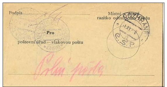 "Czechoslovakia; Fieldpost ""facing Slip"" 1938 - Very Scarce - Cartas"
