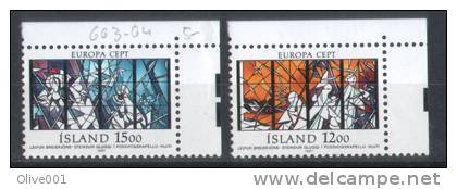 Timbres D'Islande Thematique Vitraux Y&T N° 618/19 ** Luxe - Vetri & Vetrate