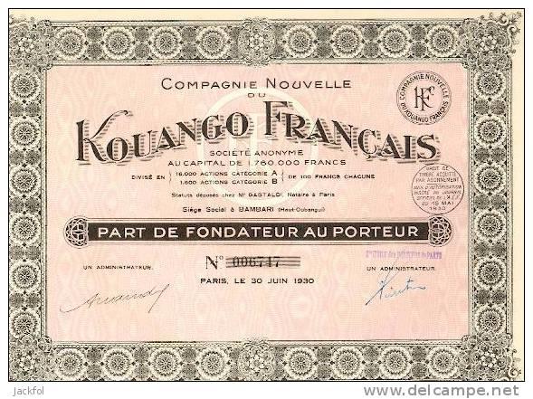 Cie Nouvelle Du Kouango Français (part Fondateur) - Haut-Oubangui - Actions & Titres