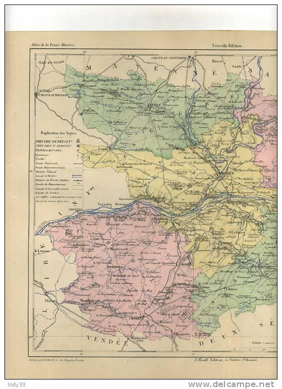- DEPARTEMENT DE MAINE ET LOIRE . CARTE GRAVEE EN COULEURS AU XIXe S. SOUS LA DIRECTION DE MALTE-BRUN - Mapas Geográficas
