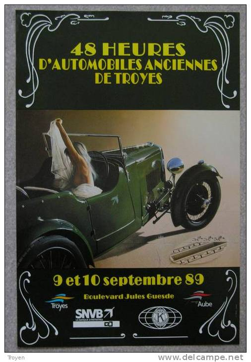 TROYES - Aube - Automobiles Anciennes  48 H Automobiles De Troyes 1989 - Posters