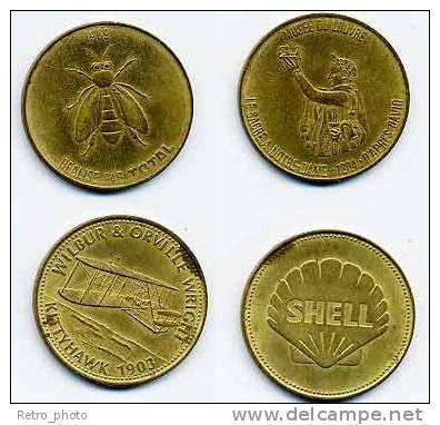 2 Jetons - Essence Total Et Shell, Biplan Wilbur & Orville Wright - Professionnels / De Société