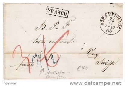 Nlc031/ Grafenhage 1863 Nach Zug,  Schweiz, Franco, Handschriftlich Taxiert (westliches Preussen) - Niederlande