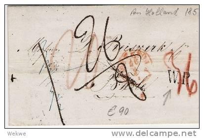 Nlc032/ Brief,  Amsterdam 1851 N.Basel, 5 Taxvermerke + W.P.(Westl. Preussen) - Niederlande