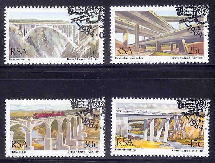 SOUTH AFRICA 1984 CTO Stamp(s) Bridges 651-654 #3571 - Bridges