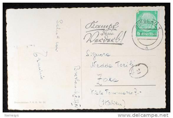 1937 KAISERBRUCKE - FROM BRESLAU TO ZARA ITALY - TIMBRO A TARGHETTA - (prezzo Ribassato) - Schlesien