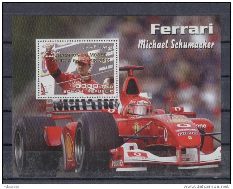 Somalia - Foglietto Nuovo Sovrastampato Oro Per La 6° Vittoria Ferrari In F1 - Schumacher - Somalia (1960-...)