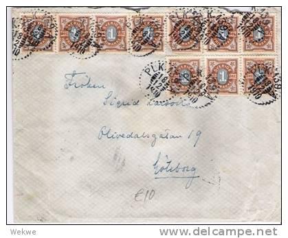 S-011/ Ziffernmarke 1 Öre (10 X)entwertet PLK 139,n.Göteborg 1910 - Schweden