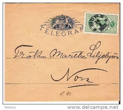 S-016/ Frankierter Telegrammbrief  1902  Nach Nora - Schweden