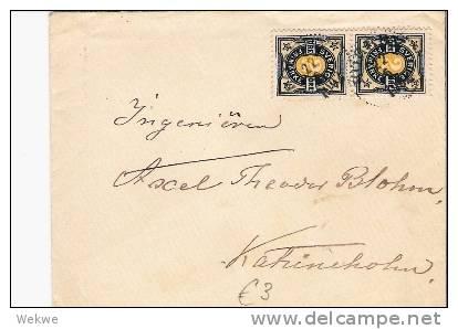 S-023/Ziffernmarke 2 Öre, (Paar) 1902 Nach Katrineholm - Schweden