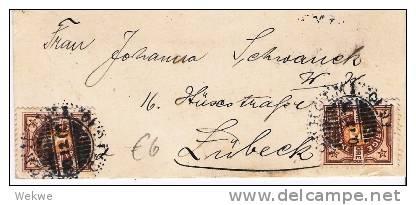 S-031/Ziffernmarke 3 Öre, 2 X, 1900 Nach Lübeck - Schweden