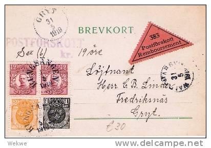 S-034/Nachnahmekarte Gustav V, 2x, Wappenmarke  1 Öre+2Öre, Gryt 1919 - Schweden