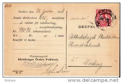 S-040/Gustav V, 7 Öre Auf 10, 1918, Örebro (Marke überdruckt) - Schweden