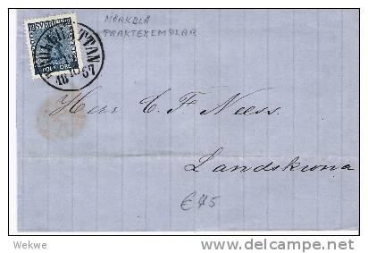 S-045/  Brief, Staatswappen 12 Öre, Gute Zentrierung, Farbfrisch, Trollhattan 1867 - Schweden