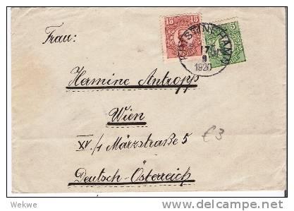 S-046/  Brief, Gustav V, 15 + 5 Öre, Christinehamn 1920,Wien - Schweden