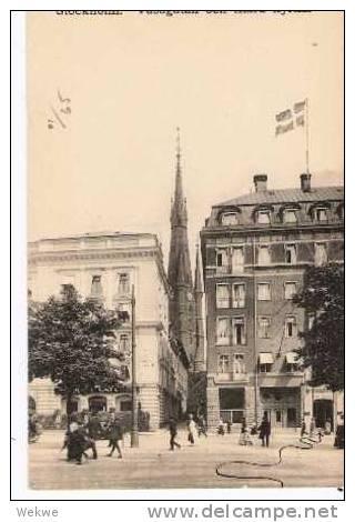 S-048/ AK Vasagatan, Stockholm Mit Landstormen Fem Öre 1917 - Schweden