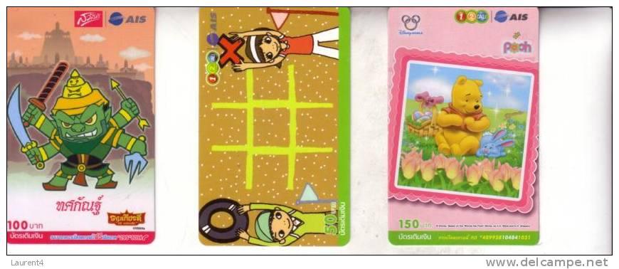 3 Thailand Phonecard - 3 Telecarte De Thailand - Cartoon - Thaïlande