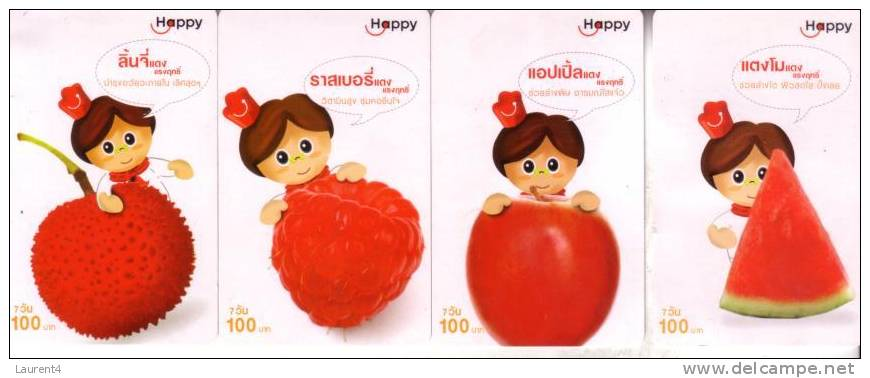3 Thailand Phonecard - 3 Telecarte De Thailand - Cartoon - Fruit - Thaïlande