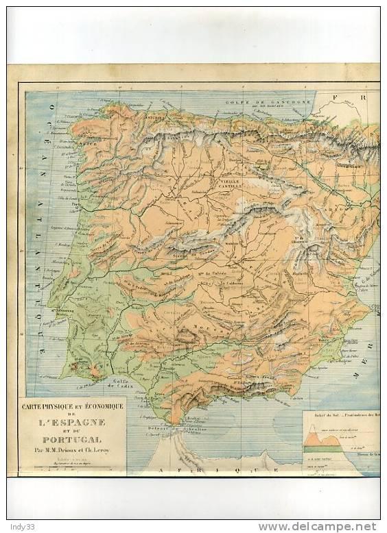 - CARTE PHYSIQUE DE L´ESPAGNE ET DU PORTUGAL. CARTE GRAVEE EN COULEURS AU XIXe S. SOUS LA DIRECTION DE DRIOUX ET LEROY - Geographical Maps