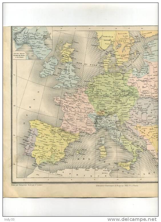- EUROPE  FEODALE 1328- 1453 . CARTE GRAVEE EN COULEURS AU XIXe S. SOUS LA DIRECTION DE DRIOUX ET LEROY - Geographical Maps