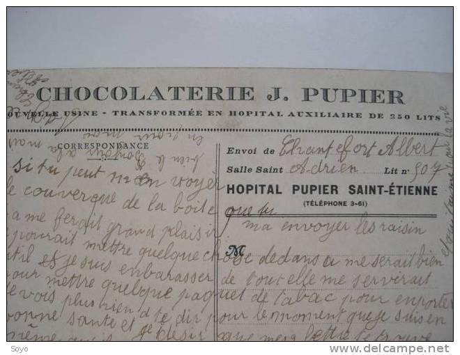 Hopital Auxiliaire Chocolat Pupier A St Etienne Croix Rouge Française - War 1914-18