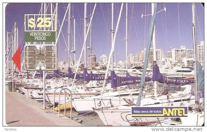 Nº 28/a TARJETA VELEROS DE 25$ - Uruguay