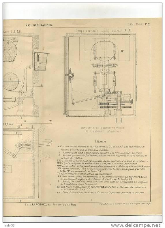 - MACHINES MARINES . INDICATEUR DE TOURS DE M. MADAMET . GRAVURE DE L´EXPOSITION DE PARIS DE 1878 - Technics & Instruments