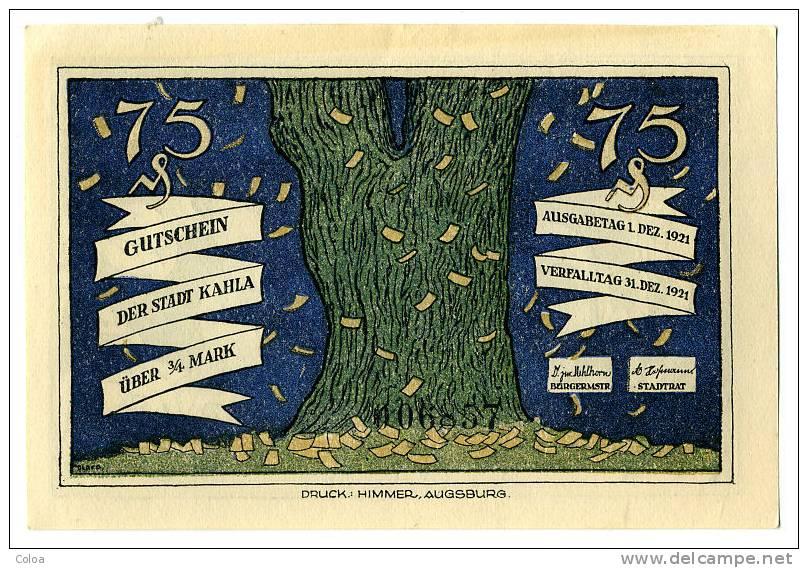 Gutschein Der Stadt Kahla 1921 2 - Allemagne
