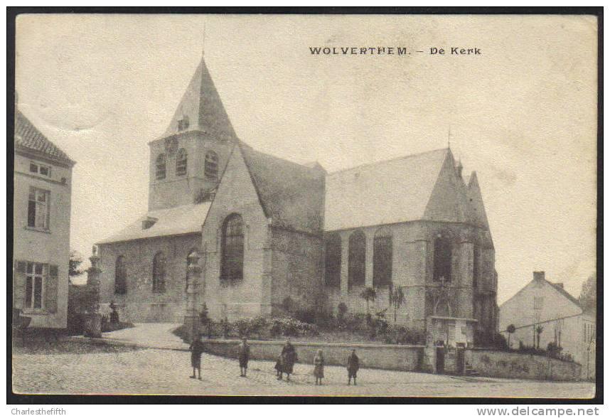 """1907 Zeldzame WOLVERTHEM - WOLVERTEM """" De Kerk """" Mooie Animatie !! - Belgique"""
