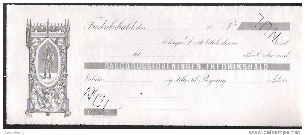 CHEQUE DE FREDRIKSHALD.  SPECIMEN IMPRIMERIE STERN - Bills Of Exchange