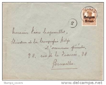BELGIUM USED COVER OCCUPATION 1917 CANCELED BAR CINEY - WW I