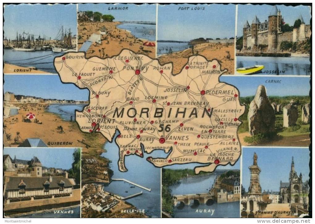 Morbihan 56. Carte Du Morbihan. 9 Vues Diverses: Lorient, Larmor, Josselin, Carnac, Auray, Vannes, Port-Louis - Autres Communes