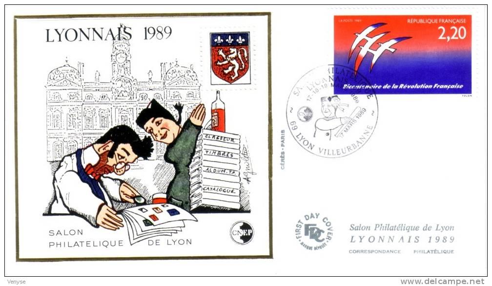 Env. FDC Salon Philatélique De Lyon Avec Bloc CNEP N°10 Et Cachet Spécial 17 Mars 1989 - CNEP