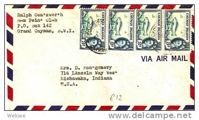 CAY004 / KAIMANINSELN -  QEII Papageifisch, 4 Stück Nach Mishawaka, USA (Brief, Cover, Letter, Lettre) - Kaimaninseln